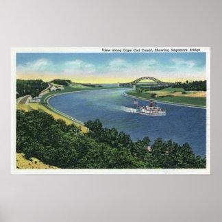 Opinión del canal de Cape Cod del puente de Sagamo Poster