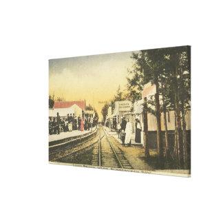 Opinión del ferrocarril de la fila del Rubberneck Impresión En Lona Estirada
