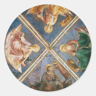 Opinión del Fra Angelico- de la bóveda de la capil Etiqueta Redonda