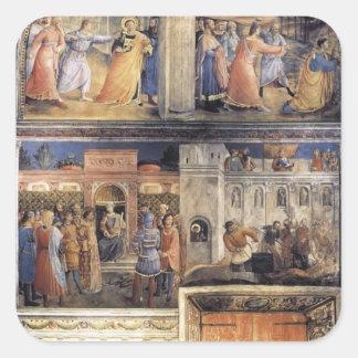 Opinión del Fra Angelico- de la pared del este de Calcomanía Cuadrada