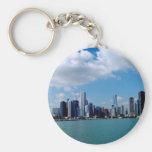 Opinión del horizonte de Chicago del embarcadero d Llavero Redondo Tipo Pin