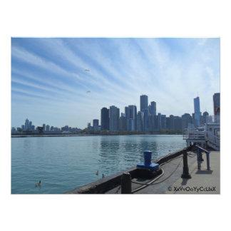 Opinión del horizonte de Chicago del embarcadero Fotografías