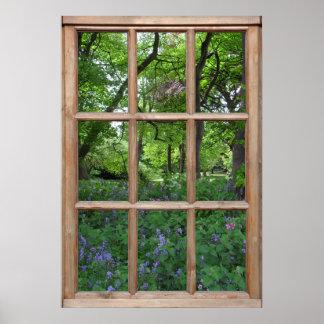 Opinión del jardín del Bluebell de una ventana Impresiones