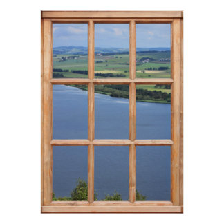 Opinión del lago de Escocia de una ventana Posters