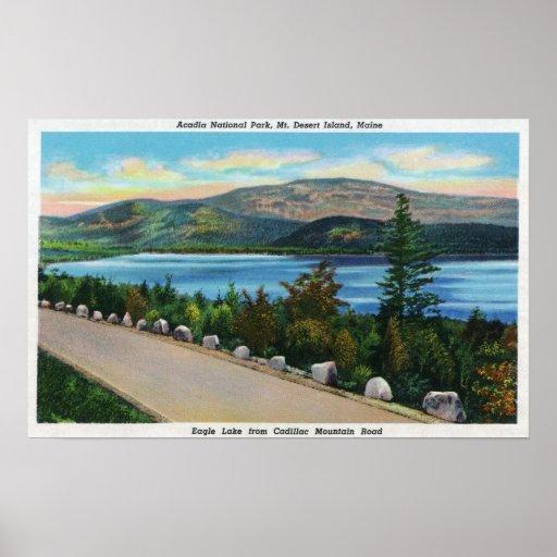 Opinión del lago eagle del camino de Cadillac Mt Posters