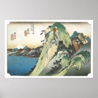 Opinión del lago, Hiroshige, 1831-34 de Hakone Póster