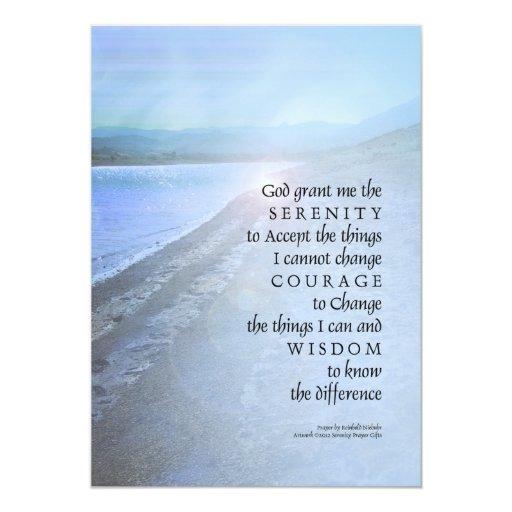 Opinión del lago prayer de la serenidad invitación 12,7 x 17,8 cm