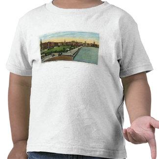 Opinión del lavabo y de la explanada del río Charl Camisetas