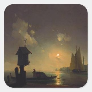Opinión del mar de Ivan Aivazovsky- con la capilla Pegatina Cuadrada