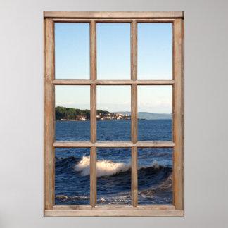 Opinión del mar de una ventana con la onda Crestin Poster