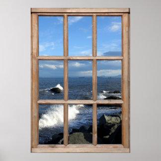 Opinión del mar de una ventana con las ondas de póster