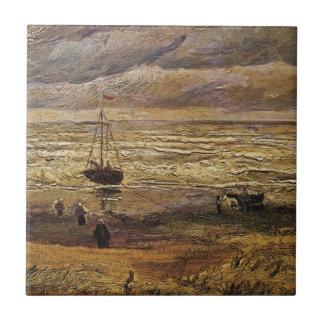 Opinión del mar en Scheveningen, bella arte de Van Azulejo Cuadrado Pequeño