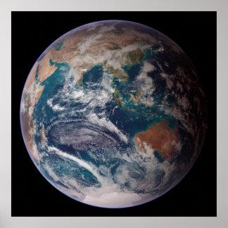 Opinión del Océano Índico de la tierra del planeta Póster