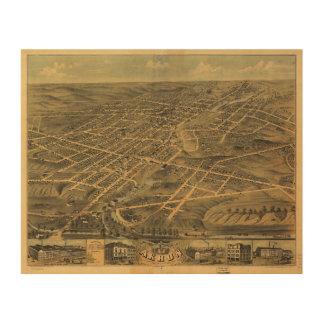 Opinión del ojo de pájaro de Akron Ohio (1870) Impresión En Madera