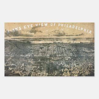 Opinión del ojo de pájaro de Philadelphia Pegatina Rectangular