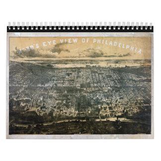 Opinión del ojo de pájaro de Philadelphia Pennsylv Calendario