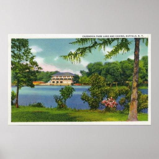 Opinión del parque de Cazenovia del lago y del cas Póster