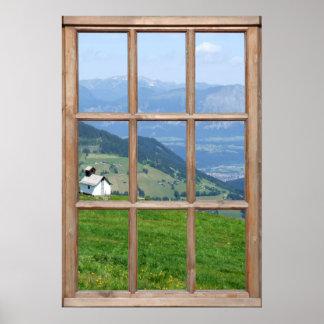 Opinión del prado de las montañas de una ventana poster