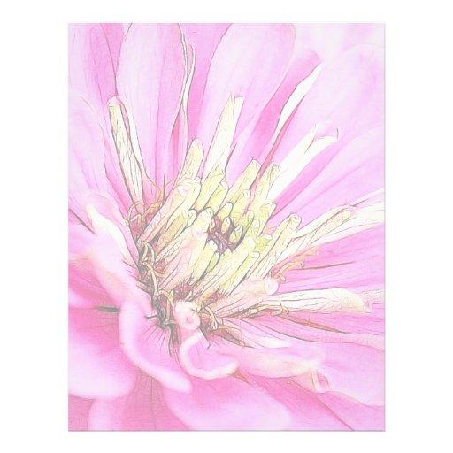 Opinión del primer de un zinnia rosado delicado plantillas de membrete