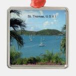 Opinión del puerto de St Thomas Adorno Cuadrado Plateado