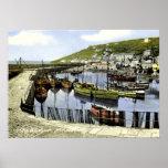 Opinión del puerto del vintage, Mousehole Cornuall Impresiones