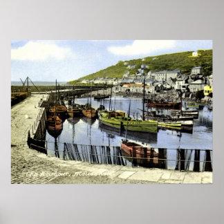 Opinión del puerto del vintage, Mousehole Cornuall Póster