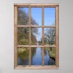 Opinión del río de una ventana poster