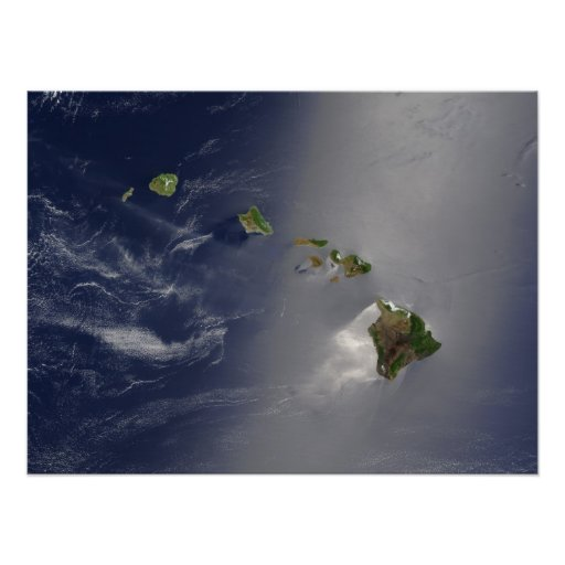 Opinión del satélite de las islas hawaianas posters