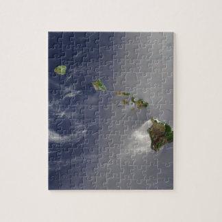 Opinión del satélite de las islas hawaianas puzzle con fotos
