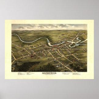 Opinión del siglo XIX de Rochester NH Birdseye Póster