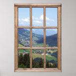 Opinión del valle de la montaña de una ventana póster