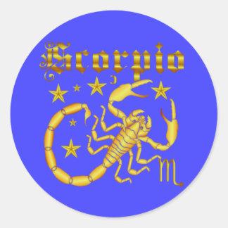 Opinión del zodiaco Scorpio-Design-1 debajo de Pegatina Redonda