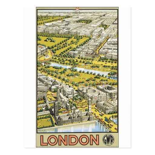 Opinión dibujada aérea del cartel del vintage de postales