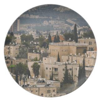 Opinión elevada de la ciudad de la torre de Jerusa Plato De Comida