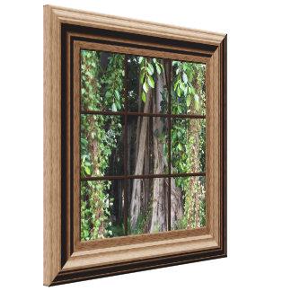 Opinión enmarcada falsa madera de la ventana del impresiones en lona estiradas