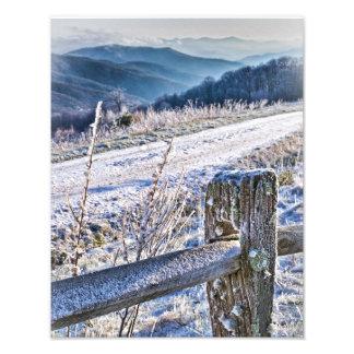 Opinión escénica del invierno del botón de la comp fotografías