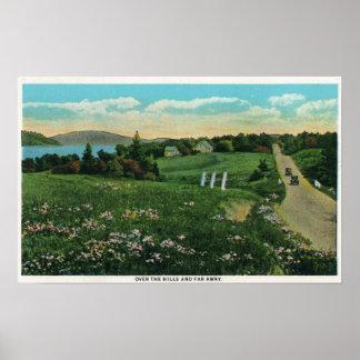 Opinión escénica del país, sobre las colinas y lej poster