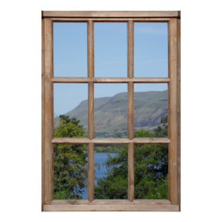 Opinión escocesa del lago de una ventana poster