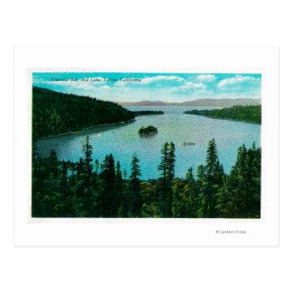 Opinión esmeralda de la bahía sobre el lago tarjeta postal
