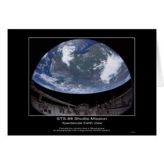Opinión espectacular de la tierra - misión en la q tarjeta de felicitación