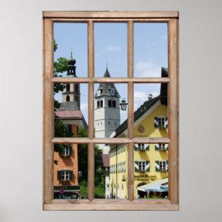 Opinión europea de la ciudad de una ventana póster