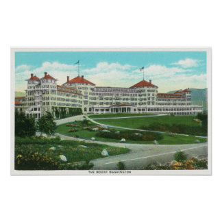 Opinión exterior del primer del hotel del Mt. Wash Póster