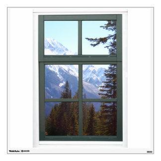 Opinión falsa de la ventana de las montañas vinilo decorativo