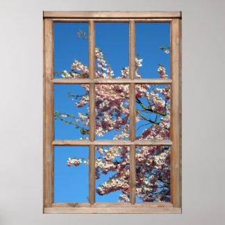 Opinión floreciente del cerezo de una ventana impresiones