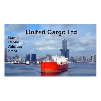 Opinión grande del buque y del puerto de petróleo tarjetas de visita