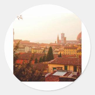Opinión hermosa del verano de Florencia Etiqueta Redonda