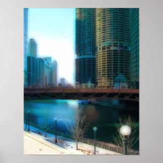Opinión II del río Chicago Poster