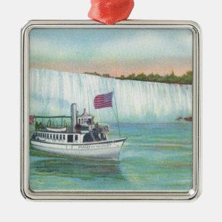 Opinión la criada del barco de la niebla adorno navideño cuadrado de metal