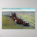 Opinión los granjeros que cosechan con el caballo  póster