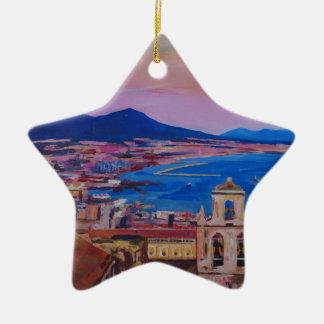 Opinión maravillosa de la ciudad de Nápoles con el Adorno Navideño De Cerámica En Forma De Estrella
